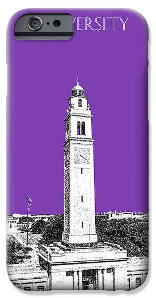 Lsu iPhone Cases - Louisiana State University - Memorial Tower - Purple iPhone Case by DB Artist
