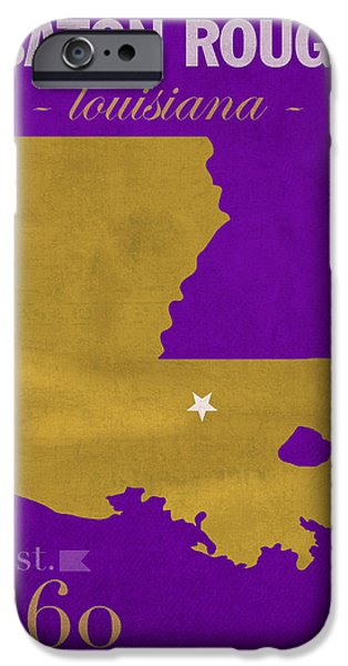 Lsu iPhone Cases - Louisiana State University Tigers Baton Rouge LA College Town State Map Poster Series No 055 iPhone Case by Design Turnpike