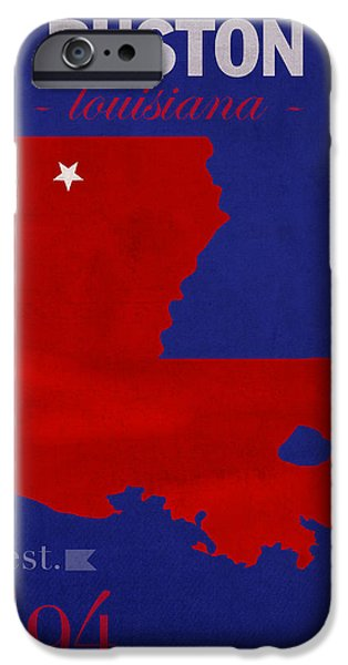 Louisiana State University iPhone Cases - Louisiana Tech University Bulldogs Ruston Louisiana College Town State Map Poster Series No 056 iPhone Case by Design Turnpike