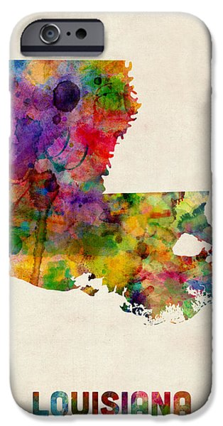 Geography iPhone Cases - Louisiana Watercolor Map iPhone Case by Michael Tompsett