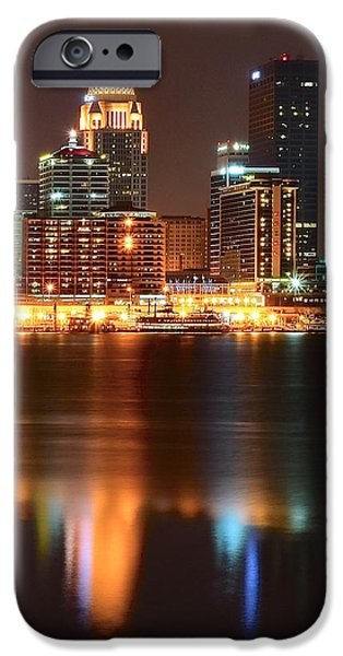 Baseball Glove iPhone Cases - Louisville at Night  iPhone Case by Frozen in Time Fine Art Photography