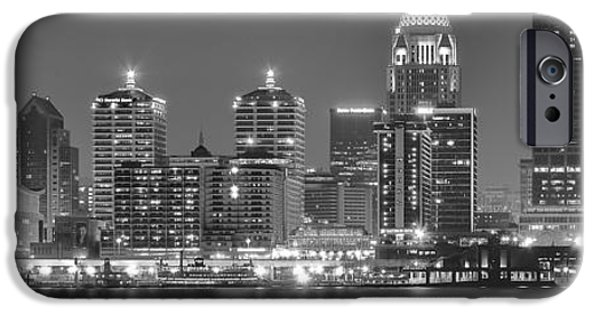 Baseball Glove iPhone Cases - Louisville Black and White Panorama iPhone Case by Frozen in Time Fine Art Photography