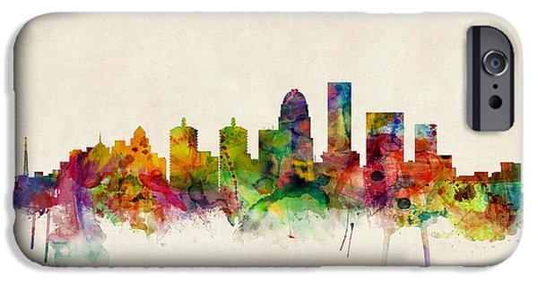 States iPhone Cases - Louisville Kentucky City Skyline iPhone Case by Michael Tompsett