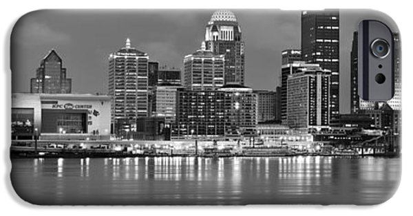 Louisville iPhone Cases - Louisville Skyline at Dusk Sunset BW Black and White Panorama Kentucky iPhone Case by Jon Holiday