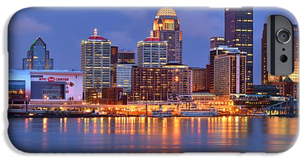 City Scene iPhone Cases - Louisville Skyline at Dusk Sunset Panorama Kentucky iPhone Case by Jon Holiday