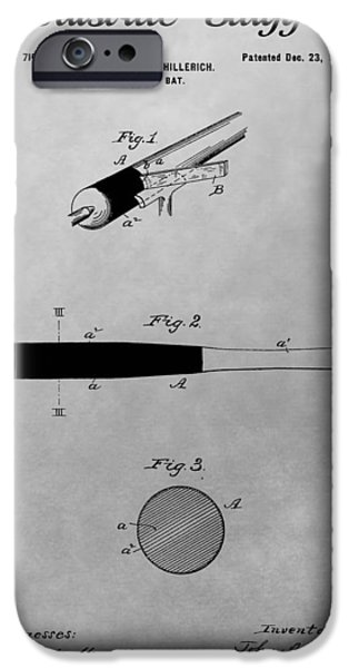 Bat iPhone Cases - Louisville Slugger Patent Drawing iPhone Case by Dan Sproul