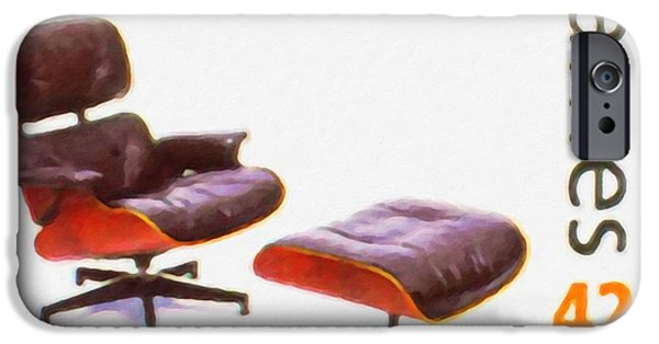 Empty Chairs Paintings iPhone Cases - Lounge chair and ottoman iPhone Case by Lanjee Chee