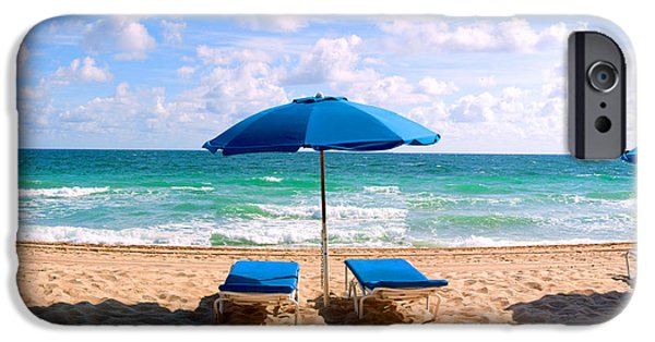 Absence iPhone Cases - Lounge Chairs And Beach Umbrella iPhone Case by Panoramic Images