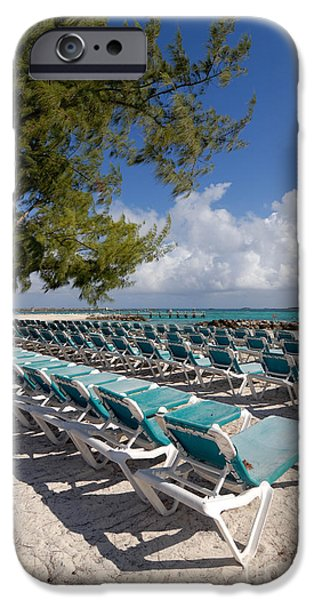 Private Island iPhone Cases - Lounge Chairs on the Beach iPhone Case by Amy Cicconi
