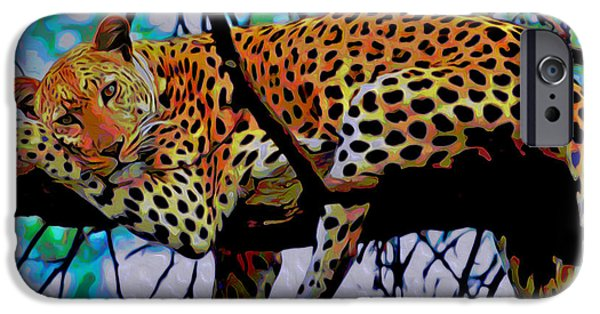 Cheetah Digital Art iPhone Cases - Loungin Leopard iPhone Case by  Fli Art