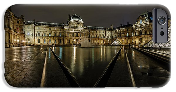 Shape Pyrography iPhone Cases - Louvre Pyramid and Pavillon Richelieu iPhone Case by Rostislav Bychkov