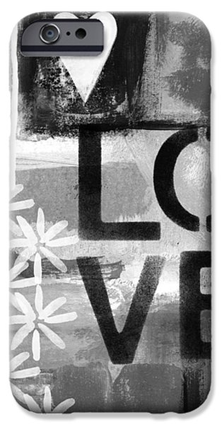 Urban Art iPhone Cases - Love- abstract painting iPhone Case by Linda Woods