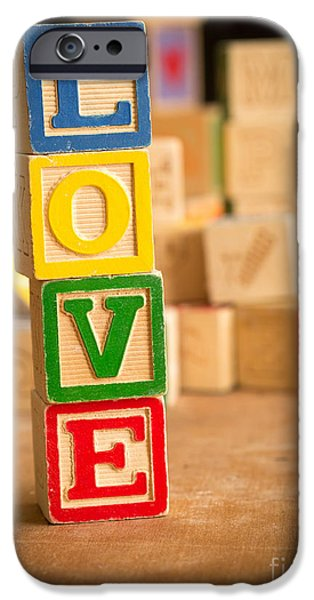 Day iPhone Cases - LOVE - Alphabet Blocks iPhone Case by Edward Fielding