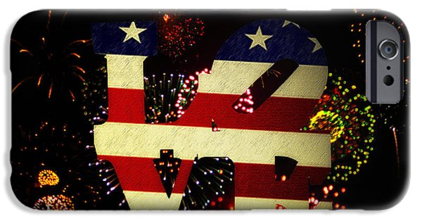 4th July Digital iPhone Cases - Love American Style iPhone Case by Bill Cannon