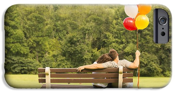 Couple Photographs iPhone Cases - Love and Balloons iPhone Case by Diane Diederich