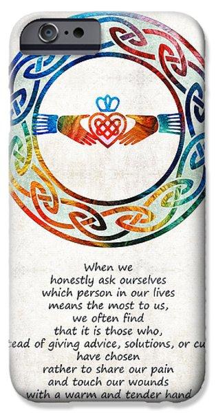 Sisters Paintings iPhone Cases - Love And Friendship Art by Sharon Cummings iPhone Case by Sharon Cummings
