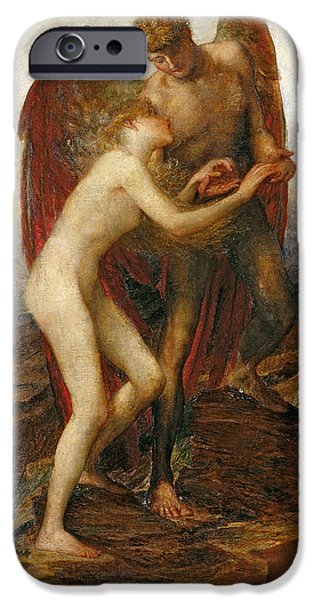 Altruism Paintings iPhone Cases - Love And Life iPhone Case by George Frederick Watts