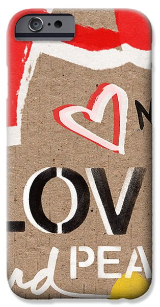 Painted Mixed Media iPhone Cases - Love and Peace Now iPhone Case by Linda Woods