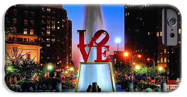 Landmarks Photographs iPhone Cases - LOVE at Night iPhone Case by Nick Zelinsky