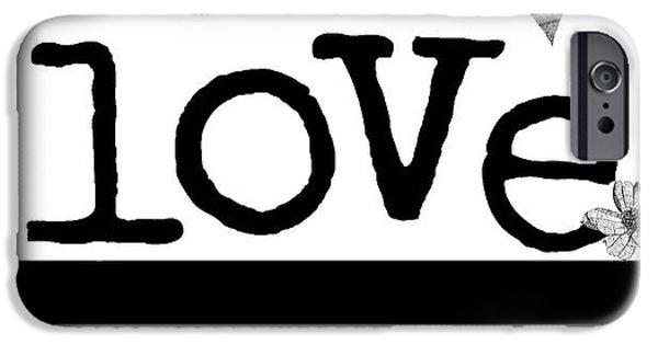Elephants Mixed Media iPhone Cases - LOVE BIG - Elephant Heart Typography Print iPhone Case by Anahi DeCanio - ArtyZen Studios