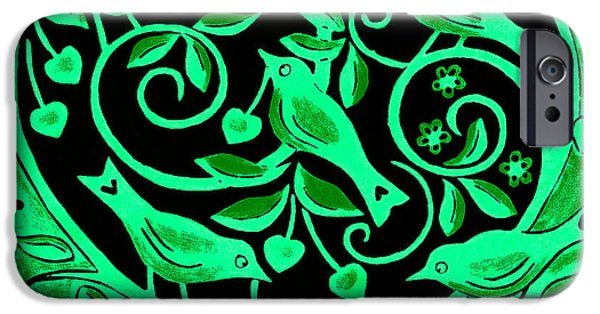 Print Photographs iPhone Cases - Love Birds, 2012 Woodcut iPhone Case by Nat Morley