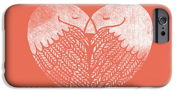 Love Digital Art iPhone Cases - Love Birds iPhone Case by Budi Kwan