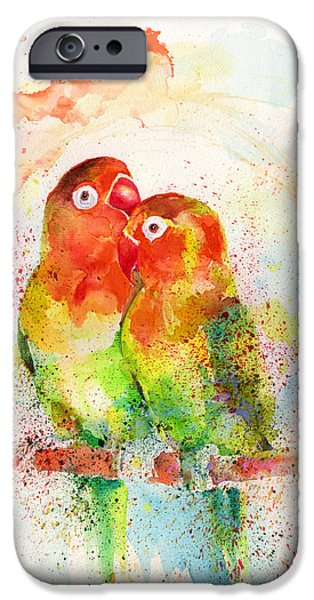 Mixed Media Drawings iPhone Cases - Love birds iPhone Case by Isabel Salvador