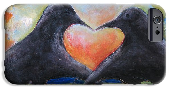 Crows Paintings iPhone Cases - Love Birds iPhone Case by Mary Medrano
