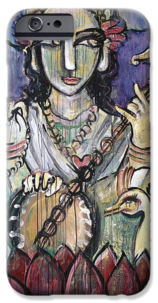 Hindu Goddess iPhone Cases - Love For Saraswati iPhone Case by Laurie Maves