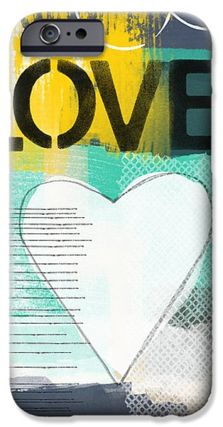 Stencil iPhone Cases - Love Graffiti Style- Print or Greeting Card iPhone Case by Linda Woods