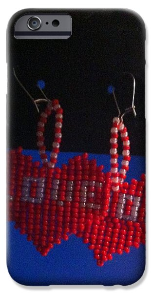 White Jewelry iPhone Cases - Love Handwoven Earrings iPhone Case by Kimberly Johnson