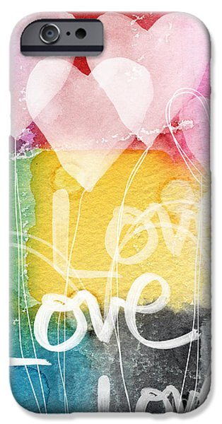 Card Mixed Media iPhone Cases - Love Hearts iPhone Case by Linda Woods