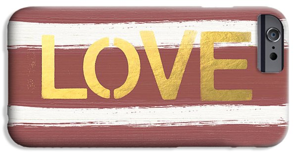 Stripes iPhone Cases - Love in Gold and Marsala iPhone Case by Linda Woods