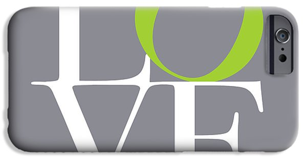 Love Digital Art iPhone Cases - Love in Grey with a Lime Twist iPhone Case by Michael Tompsett