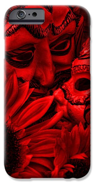 Monotone Digital iPhone Cases - Love In Hell iPhone Case by Jeff  Gettis