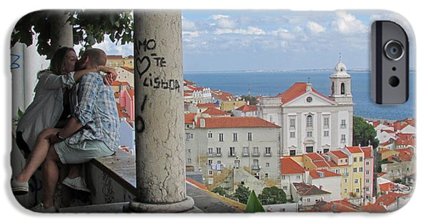 Church Pillars Paintings iPhone Cases - Love in Lisbon  iPhone Case by Robert Gerdes