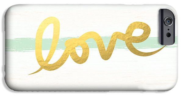 Stripes iPhone Cases - Love in Mint and Gold iPhone Case by Linda Woods