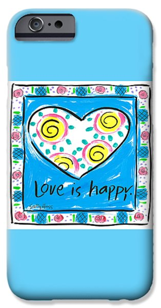 Sally Huss iPhone Cases - Love is Happy iPhone Case by Sally Huss