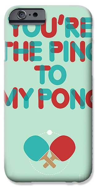Greeting Digital Art iPhone Cases - Love is like ping pong iPhone Case by Budi Satria Kwan