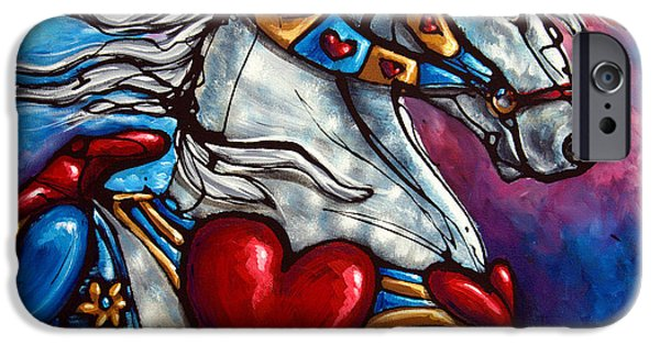 Carousel Horse Paintings iPhone Cases - Love Makes the World go Round iPhone Case by Jonelle T McCoy
