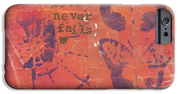 Multimedia Paintings iPhone Cases - Love Never Fails 3 iPhone Case by Karen Kuykendall