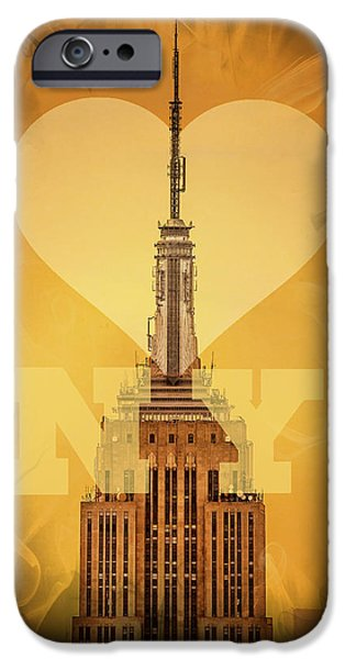 New York City Digital Art iPhone Cases - Love New York iPhone Case by Az Jackson