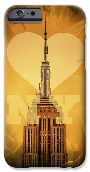 Empire State Digital iPhone Cases - Love New York iPhone Case by Az Jackson