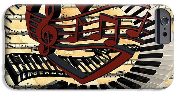 Piano iPhone Cases - Love of Music  iPhone Case by Louis Ferreira