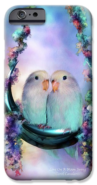Lovebird iPhone Cases - Love On A Moon Swing iPhone Case by Carol Cavalaris