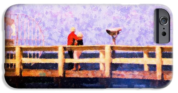 Bay Bridge Mixed Media iPhone Cases - Love On the Pier iPhone Case by Florene Welebny