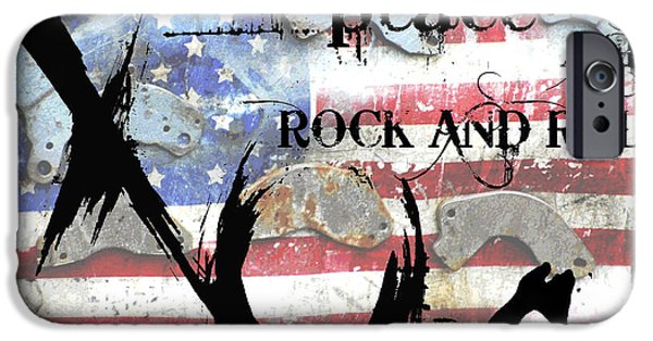Red White And Blue Mixed Media iPhone Cases - Love Peace and Rock and Roll iPhone Case by Anahi DeCanio - ArtyZen Studios