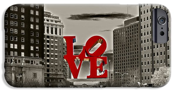 Statue iPhone Cases - Love Sculpture - Philadelphia - BW iPhone Case by Lou Ford