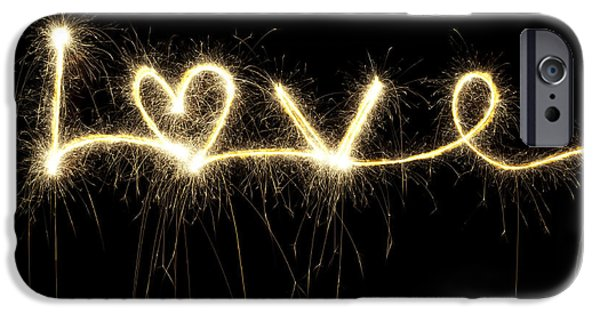 Fireworks iPhone Cases - Love Shines Brightly iPhone Case by Tim Gainey
