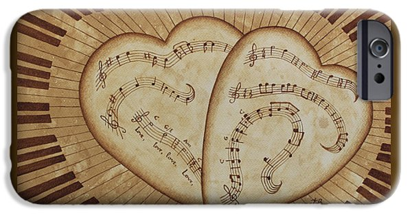 Piano iPhone Cases - Love Song Of Our Hearts iPhone Case by Georgeta Blanaru